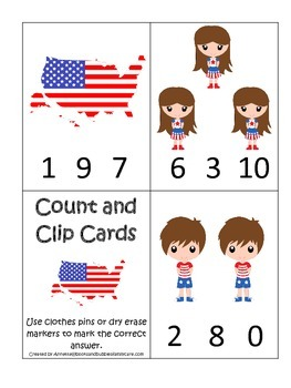USA themed Count and Clip Math Cards preschool educational game.