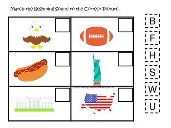 USA themed Match the Beginning Sound preschool educational phonics game.