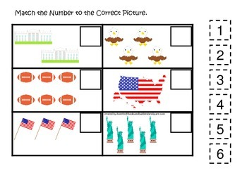 USA themed Match the Number preschool educational math game.  Daycare.