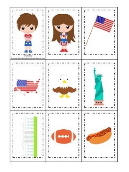 USA themed Memory Matching Cards preschool educational game.  Daycare.