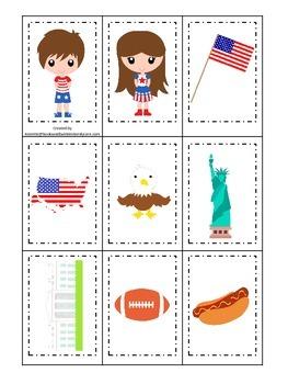USA themed Memory Matching Cards preschool educational gam