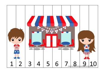 USA themed Number Sequence Puzzle 1-10 preschool educational game.