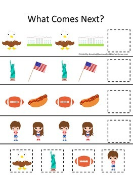 USA themed What Comes Next preschool educational game.  Beginning Math.