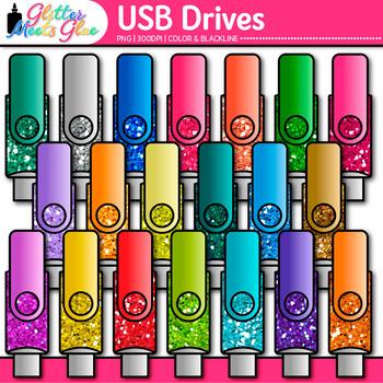 USB Drives Clip Art {Rainbow Glitter Flash Devices for Classroom Technology Use}