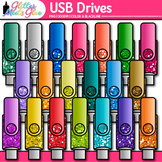USB Drives Clip Art {Rainbow Glitter Flash Devices for Cla