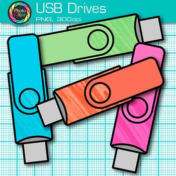 USB Drives Clip Art {Rainbow Glitter Flash Devices for Classroom Technology} 1