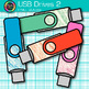 USB Drives Clip Art {Rainbow Glitter Flash Devices for Classroom Technology} 2