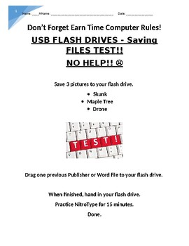 USB Flash Drives Assignment and test
