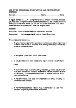 USE OF THE CONDITIONAL TENSE WRITING AND COMPREHENSION EXERCISE