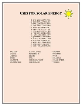 USES FOR SOLAR ENERGY WORD SEARCH