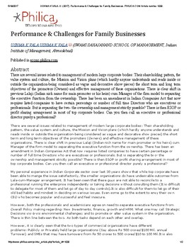 USHMA K VALA, U. (2017). Performance & Challenges for Family Businesses. PHILICA