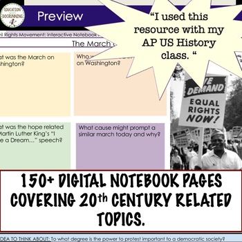 US History Digital Interactive Notebooks 10 Sets! Gilded Age to Cold War