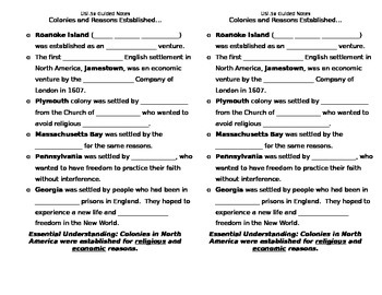 USI.5 Colonial America Guided Notes