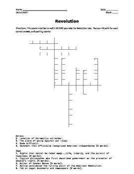 USI.6 American Revolution Crossword