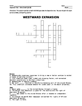 USI.8 Westward Expansion Crossword