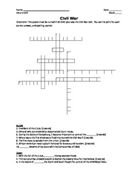 USI.9 Civil War Crossword