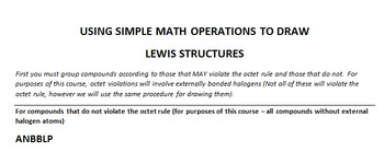 USING SIMPLE MATH OPERATIONS TO DRAW LEWIS MOLECULAR STRUCTURES