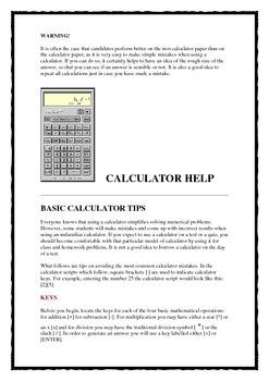 USING YOUR CALCULATOR
