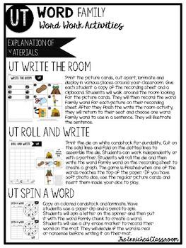 UT Word Family Word Work Activities