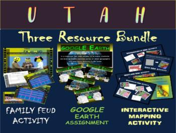 UTAH 3-Resource Bundle (Map Activty, GOOGLE Earth, Family Feud Game)
