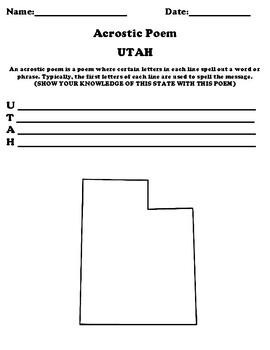 UTAH Acrostic Poem Worksheet