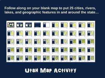 UTAH Map Activity- fun, engaging, follow-along 20-slide PPT
