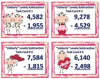 """Udderly"" Lovely 4-Digit Subtraction Freebie"