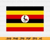 Uganda National Flag, Ugandan Country Banner Printable, SVG EPS AI PNG JPG PDF