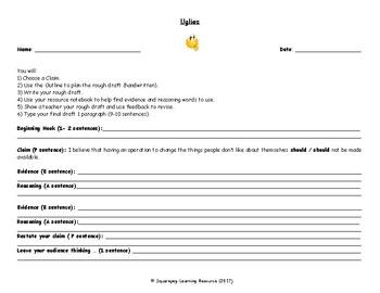 Uglies - Argumentative Essay - graphic organizer