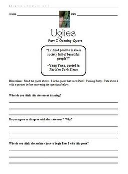 Uglies Literature Unit - Part I Opening Quote Activity