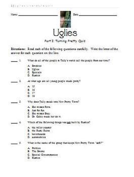 Uglies Literature Unit - Part I Quiz