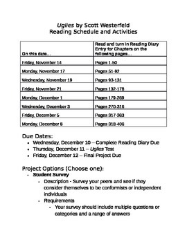 Uglies Reading Schedule and Projects