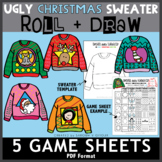 Ugly Christmas Sweater - 5 Roll and Draw Game Sheets