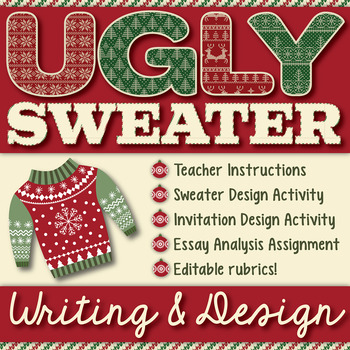 Ugly Christmas Sweater Design.Ugly Christmas Sweater Decor And Party Invitation Writing And Design Activity