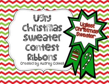 Ugly Christmas Sweater Contest Ribbons