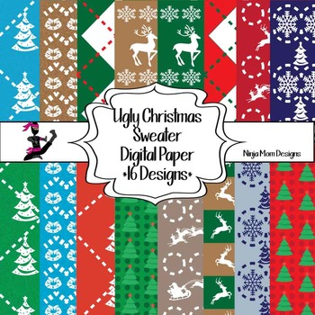 Ugly Christmas Sweaters Patterns.Ugly Christmas Sweater Digital Paper 16 Designs