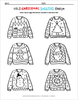 Ugly Christmas Sweater Drawing, Coloring and Craft Printables