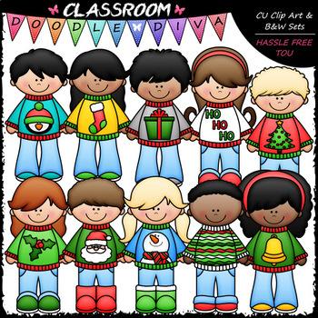 Ugly Christmas Sweater Kids - Clip Art & B&W Set