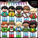 Ugly Christmas Sweater Kids - Clip Art & B&W Set