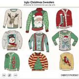 Ugly Christmas Sweater Party ClipArt, Tacky Sweaters, Festive Holiday Clip Art