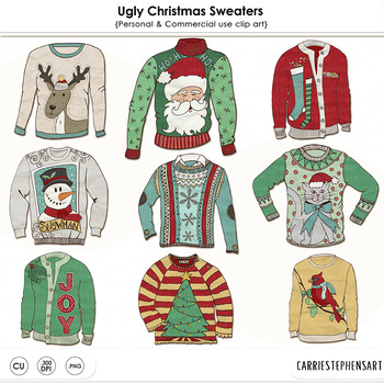 Ugly Christmas Sweater Party ClipArt Tacky Sweaters Festive Holiday Clip Art