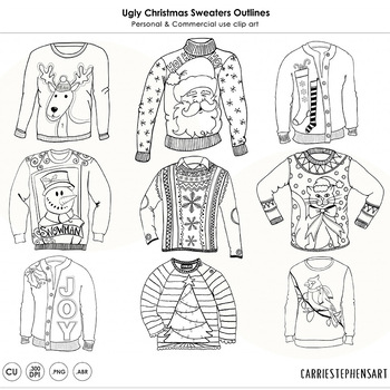 Ugly Christmas Sweater Party ClipArt Outlines! Christmas C