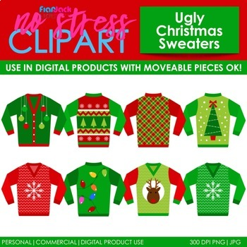Christmas Sweater Clipart.Ugly Christmas Sweaters Clip Art Digital Use Ok