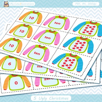 Ugly Christmas Sweaters Number Matching Cards 0-10