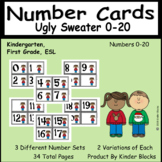 Ugly (Christmas or Winter) Sweater Number Cards 0-20