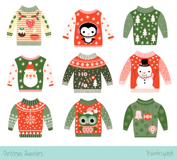 Ugly Christmas sweaters clipart set, Cute party holiday sweaters clip art