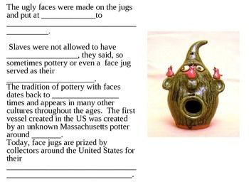 Ugly Face Jugs Worksheet