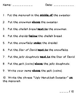 Ugly Hanukkah Sweater Following Directions (Prepositions, Cardinal, Temporal)