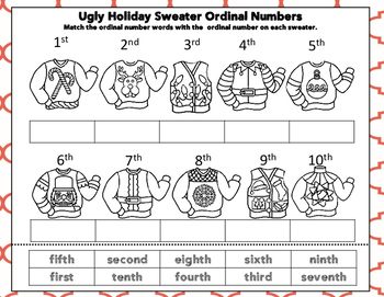 Ugly Holiday Sweater Ordinal Numbers