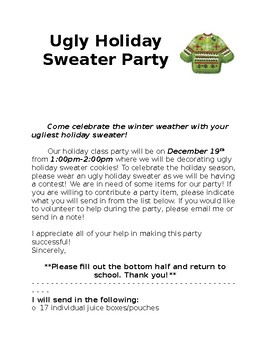 Ugly Holiday Sweater Cookie Decorating Party Parent Letter